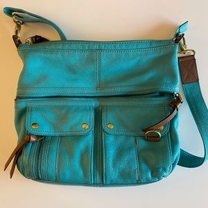 Fossil large crossbody bag pale green